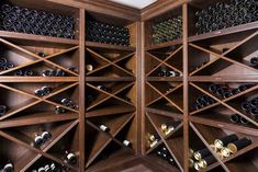 Numerous wood species can be used in wine cellar installations. Here we take a look at some popular ones and their characteristics so that you can make the right choice for your custom wine cellar. Wine Rack Design, Wine Cellar Design, Unique Wine Racks, Wood Wine Racks, Wine Shelves, Wine Storage, Alcohol Storage, Storage Ideas, Home Wine Cellars