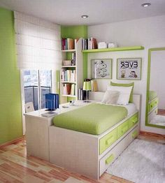 Love the color scheme and arrangement of the bed and table but prefer the bed to be lower.