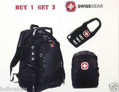Swissgear Backpack School Laptop Bag Travel Hiking black Nylon Waterproof