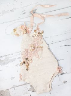Beauty and Grace - newborn romper in cream with gold and peach lace applique - with coordinating headband by SoTweetDesigns on Etsy