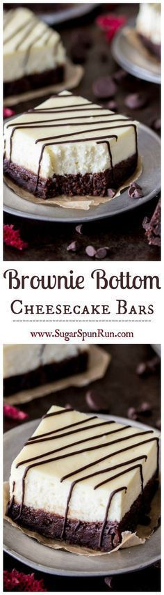 Brownie Cheesecake Bars -- fudgy brownies with a thick layer of real, rich, cheesecake on top || Sugar Spun Run via @sugarsunrun (mini sweet treats)