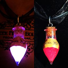 Kawaii Cute Pink Alice In Wonderland Glowing Drink Me Glass Potion Charm Necklace, Mad Hatter, Tea party, Sweet Pastel Goth Pink Glitter by Geek Freak Boutique, $17.50 USD