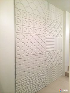 Visible different designs 3D MDF wall panels. (For the curious: more patterns can be found on our website http://www.luxum.pl/panele_scienne_3d_pl
