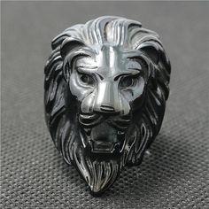 Lion Head Ring - Black Ring