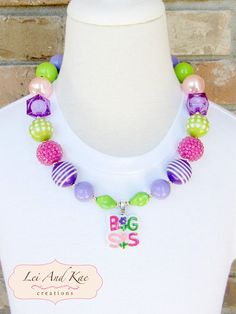 Big Sis Sister Pendant Chunky Bubble Gum Necklace