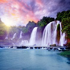 Misty Waterfalls Wallpaper for Decor