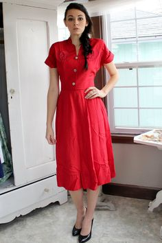 Lovely 1940's Red Dress with Rhinestones and by InRetrospect208