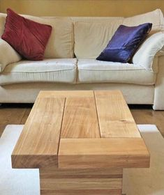 Oak coffee table This lovely kiln dried oak coffee table adds another twist to the standard oak tables. Styled on our larger cube table, without the recess. Standing on two solid oak legs making a stunning original centre piece for any classy home. In the questions and answers section on