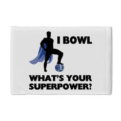"""Bowling Superhero Pillow Case by CafePress - White by CafePress. $22.50. 100% satisfaction guarantee return policy. Pillow Case Size: 29"""" x 19.5"""". Super soft. Prints on one side, reverse is white. Pillow opening on right side. I Bowl, What's Your Superpower t-shirts and gifts. This funny superhero design makes a unique gift for a bowler. Check out all our humorous products for people who love to bowl."""