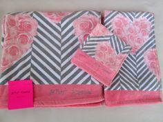 Betsey Johnson 3 Piece Towel Set Gray Pink Heart Roses Stripes Brand new! #BetseyJohnson