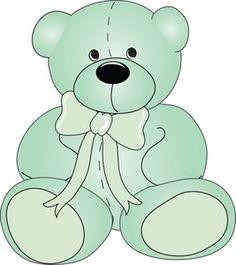 Teddy Bear Clipart Image: Cute green teddy bear