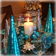 """Still Waters--Notes from a Virginia Shire: """"I'm Dreaming of a Teal Christmas"""" Teal Christmas Decorations, Peacock Christmas, Turquoise Christmas, Christmas Tree Candles, Silver Christmas Tree, Christmas Tablescapes, Christmas Mantels, Christmas Centerpieces, Rustic Christmas"""