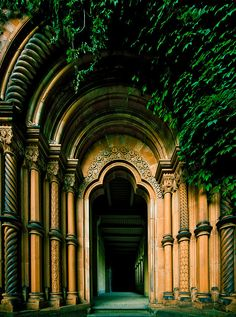 The Heilbronner Portal in Friedenskirche (Church of Peace, Potsdam, Germany) leads from the cloister area to the Maryl Garden. It is a replica of a Romanesque portal at the Heilsbronn monastery in Franconia. The church is part of the palace grounds of Sanssouci Park under the patronnage of King Frederick William IV.