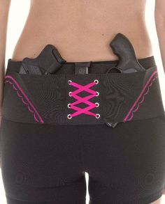 Pink On Black Concealed Carry Hip Hugger Holster for Women