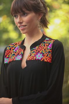 13d921075 Tribal Short Dress Moroccan Inspired Caftan Black Ethnic Bordado Oaxaqueño