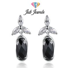 Fancy Black Checkerboard Drop Earrings - Jub Jewels  These lovely drops feature our lab created oval checkerboard AAA+ Swiss cubic zirconia stone in black onyx color as a main. Wear them to give your everyday looks unexpected dose of glamour.