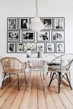 Dining Room Design – Iconic Retro Portraits Dining Room Dining Room Decor how to decorate large dining room wall Dining Room Wall Decor, Dining Room Lighting, Dining Room Design, Interior Design Living Room, Dining Room Picture Wall, Design Room, Living Room Artwork, Dining Rooms, Chair Design