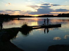 Midnight swimming in Finland