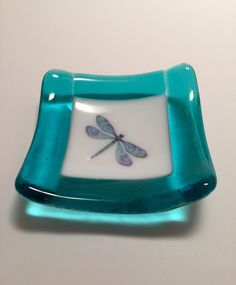 Fused glass, dragonfly, handmade fused glass dish, glass dish, ring dish, tea bag dish, candy dish, decorative dish, fused glass plate