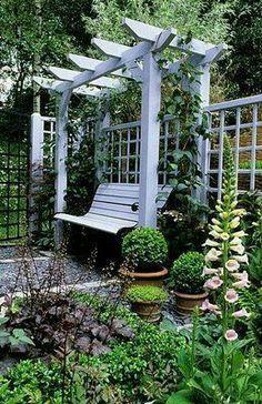 garden bench for back yard views.