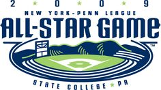 All-Star Game Primary Logo - 2009 New York-Penn League All-Star Game held at Medlar Field at Lubrano Park in State College, Pennsylvania League Gaming, State College, Game Logo, Sports Logo, Graphic Design Inspiration, All Star, Logo Design, Stars, Sterne