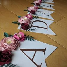 Personalized floral name banner with paper flowers and rose 3d Paper Flowers, Paper Leaves, Shabby Chic Baby, Floral Banners, Nursery Name, Name Banners, Bridal Shower Decorations, Color Change, Party Themes