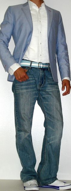 Men's blazer w/ jeans and sneaks