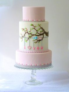 Birds in Love - (Dedicated to my beloved one). I borrowed this idea from one of the patterns/vectors my sister uses as a graphic designer. I thought of decorating also both pink tiers but it really detracted from the middle tier. Very simple decorations - freehanded fondant main branch covered with chocolate to give it some texture, smaller branches painted with chocolate. Miniature leaves, birds and letters fondant. TFL!