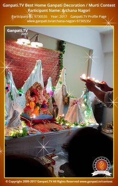Archana Nagori Page on Ganpati.TV where all Ganpati festival decoration pictures and videos are shared. Decoration Pictures, Decorating With Pictures, Ganpati Decoration At Home, Ganpati Festival, Festival Decorations, Ganesha, Picture Video, Tv, Television Set