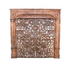 exceptional late 19th century american antique copper-plated ornamental cast iron residential fireplace grate with detachable summer cover