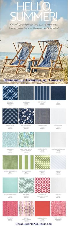 Beautiful Sunbrella Fabrics by Thibaut - Windswept Acrylic in White for outdoor curtains