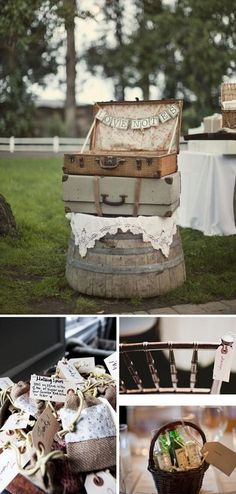 Bridal Show Booth Concept- use of suitcases and old barrel
