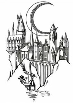 Hogwarts (sem a lua) - Primeira Tattoo (pulso) diy tattoo images - tattoo images drawings - tattoo i Harry Potter Tattoos, Arte Do Harry Potter, Harry Potter Drawings, Harry Potter Sketch, Hogwarts Tattoo, Diy Tattoo, Tattoo Ink, Tattoo Ideas, Tattoo Pulso