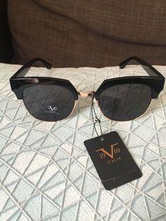 59ed5acaf3 19V69 Italia Versace 1969 BLK Valentina Black Gold Sunglasses NWT