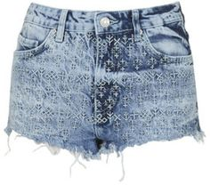 Topshop Petite Moto Folk Embroidered Hotpants in Blue (MID STONE) | Lyst