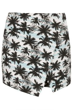 Blue Palm Print Jacquard Skort - Shorts - Clothing - Topshop USA
