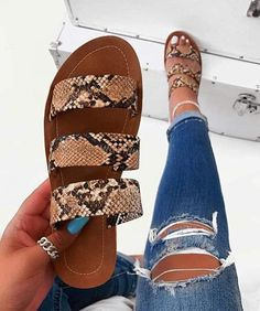 [£ Women's PU Flat Heel Sandals Peep Toe Slippers With Animal Print shoes - VeryVoga Cute Sandals, Cute Shoes, Me Too Shoes, Shoes Sandals, Fresh Shoes, Shoe Closet, Leather Sandals, Fashion Shoes, Fashion Dresses