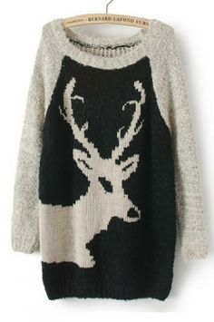 Deer pattern round neck pullover_Sweaters_CLOTHING_Voguec Shop
