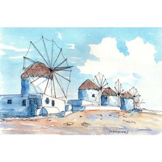 Mykonos Wind Mills Greece art print from an original watercolor... ❤ liked on Polyvore featuring home, home decor, wall art, water colour painting, watercolor wall art, watercolour painting, water color painting and watercolor painting