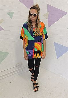 Vintage 80's Crazy abstract print Tunic Shirt