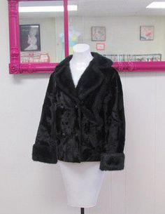 Beautiful BLACK Faux Fur COAT By Winter by BeauMondeVintage