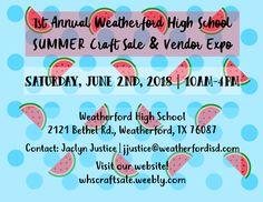 1st Annual Summer Craft sale & Vendor Expo! Mark your calendars!! June 2, 2018!