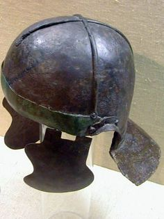 Weisenau helmet, late type, late 1st century A.D., with cross bar reinforcement, from Theilenhofen