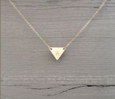 Dainty Gold Triangle Necklace / Perfect Layering Necklace / Minimal, Gold Geometric Necklace / 14K Gold Fill Golden TRIANGLE Necklace LN107 by LayeredAndLong on Etsy