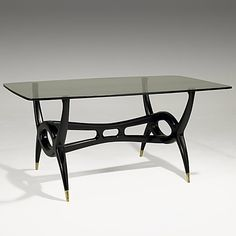 Gugliermo Ulrich; Walnut, Brass and Glass Dining Table, 1940s.
