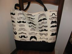 """Alexander Henry's """"where's my stache?"""" Tote by sewleighmyown, SOLD"""