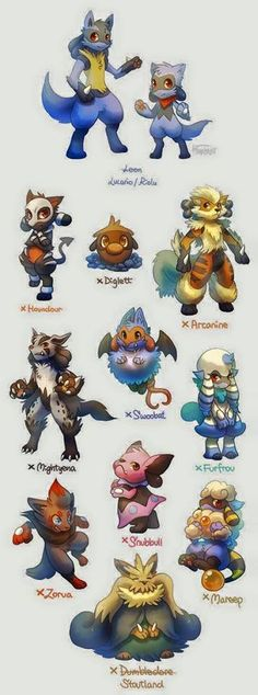 Lucario and Riolu Breed Variation by Haychel on DeviantArt Pokemon Mix, Lucario Pokemon, Pokemon Fusion Art, Pokemon Fan Art, Cute Pokemon, Mudkip, Pokemon Original, Animé Fan Art, Pokemon Breeds