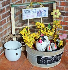 Spring Front Porch Wash Tub Planter