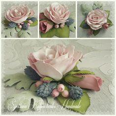Брошь роза, цинерария и бруния (Цветы из фоамирана флористика искусственная моделирование конструирование)