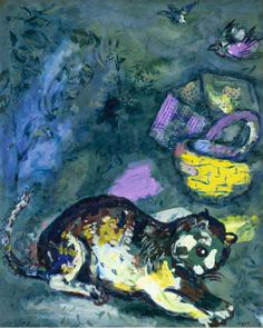 """Le chat et les deux Moineaux"" (The cat and the two sparrows), 1925-26. Watercolor and gouache painting by Marc Chagall for The Fables by La Fontaine"